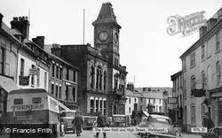 Welshpool, The Town Hall And High Street c.1955