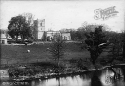 Wensley, Holy Trinity Church From River 1889