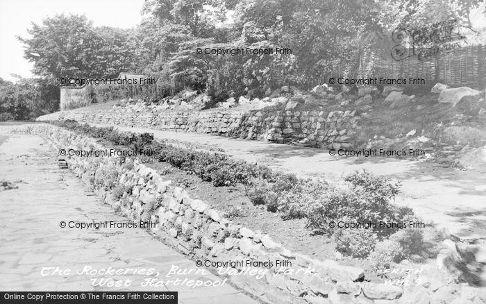 Photo of West Hartlepool, Burn Valley Park, The Rockeries c.1955