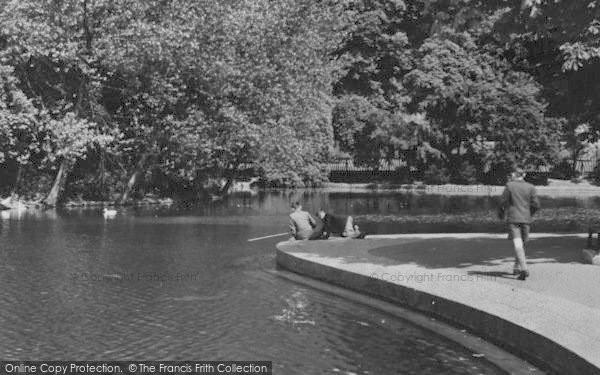 Photo of West Hartlepool, Fishing At Ward Jackson Park Lake c.1955