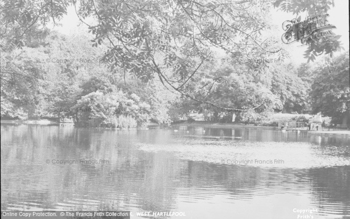 Photo of West Hartlepool, Ward Jackson Park Lake c.1955