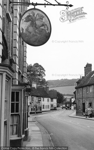 Photo of West Wycombe, The George & Dragon Sign, High Street 1954