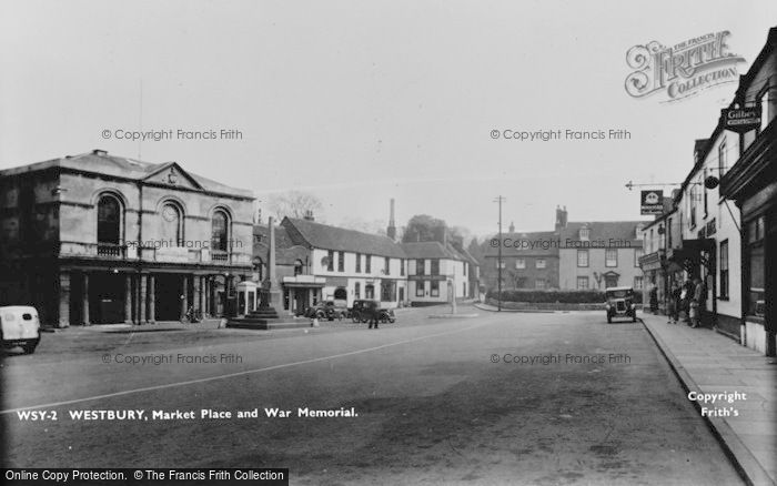 Photo of Westbury, Market Place And War Memorial c.1955
