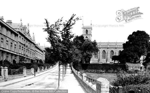 Photo of Weston-super-Mare, Oriel Terrace and St John's Church 1887