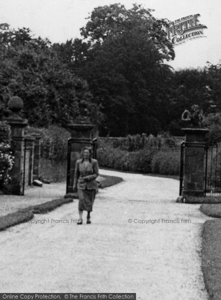 Photo of Weston Under Lizard, Lady At Village Lodges Gates c.1955