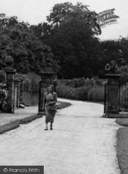 Weston Under Lizard, Lady At Village Lodges Gates c.1955