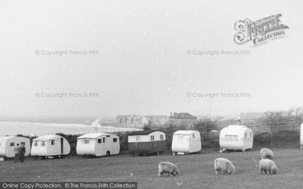 Photo of Westward Ho!, Sea Wall From Western Caravan Site c.1955