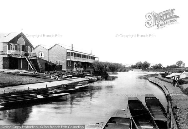 Weybridge, Boathouses & River Thames River Wey, photo c1897.  (Neg.400059)  © Copyright The Francis Frith Collection 2008. http://www.francisfrith.com