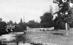 Weybridge, Bridge And Church 1890