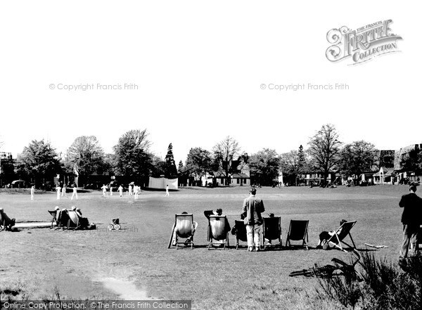Weybridge Cricket Common 1955. Cricket match and spectators  (Neg. w74024)  © Copyright The Francis Frith Collection 2008. http://www.francisfrith.com