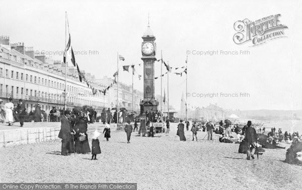 Photo of Weymouth, Beach And Jubilee Clock c.1889