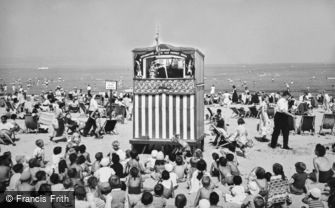 Weymouth, Punch and Judy Show on the Beach c1955