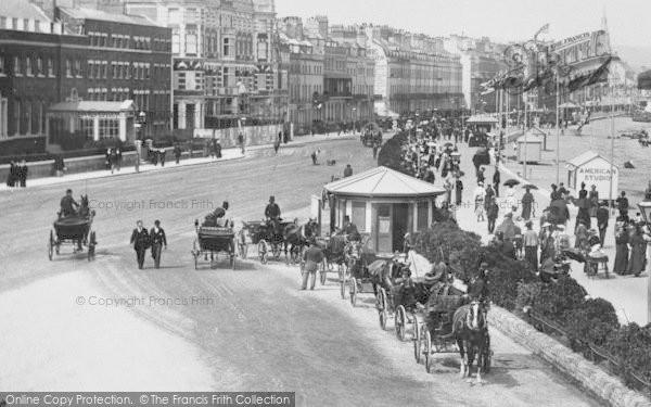 Photo of Weymouth, The Parade, Horse Carriages 1898