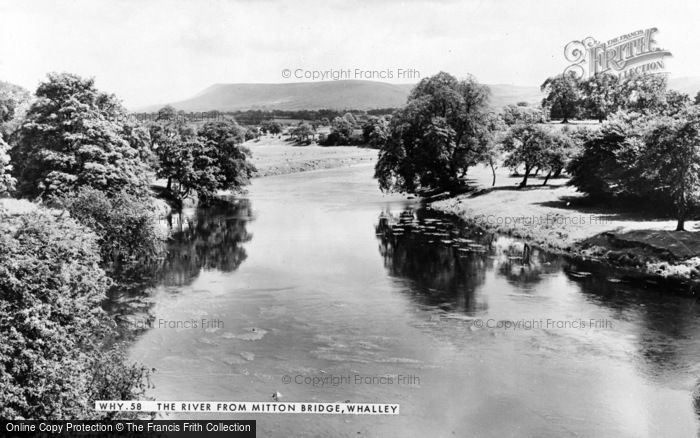 Photo of Whalley, The River From Mitton Bridge c.1960
