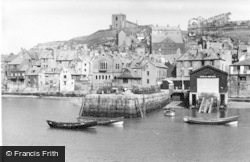 Whitby, Abbey From Fish Quay c.1935