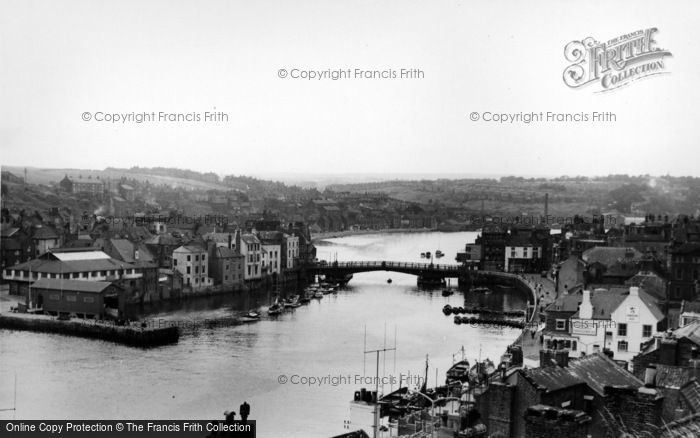 Photo of Whitby, Bridge And The Harbour c.1955