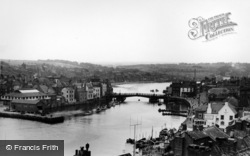 Whitby, Bridge And The Harbour c.1955