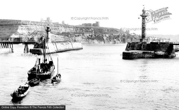Photo of Whitby, East Cliff And Pier Ends 1923