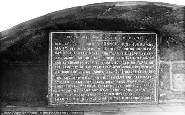 Photo of Whitby, Huntrodds Epitaph In The Churchyard 1913