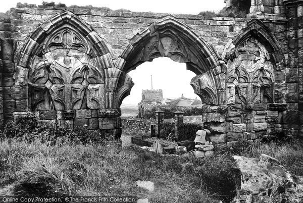 Photo of Whitby, Old Church Through The Abbey Window 1913