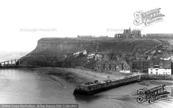 Photo of Whitby, The Harbour And Abbey c.1960