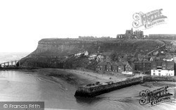 Whitby, The Harbour And Abbey c.1960