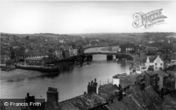 Whitby, The Harbour And The Bridge c.1960