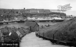 Whitby, The Harbour From Church Steps c.1960