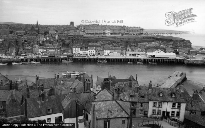 Photo of Whitby, The Harbour From Church Steps c.1960