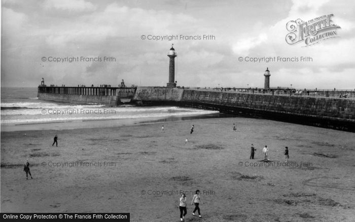 Photo of Whitby, The Pier And Sands c.1960
