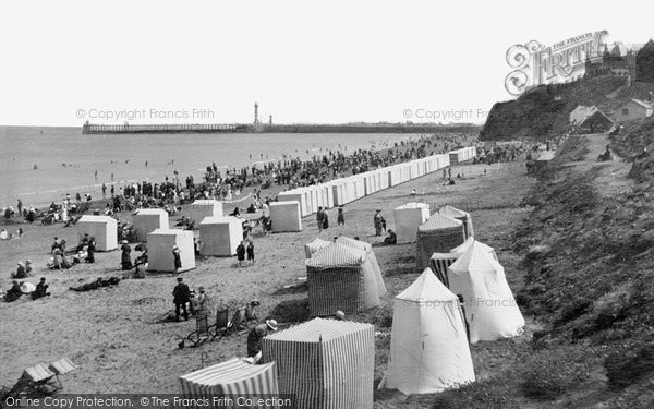 Photo of Whitby, The Sands And Pier 1913