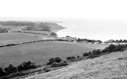 White Cliff Bay, view from the Downs c1960