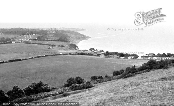 Photo of White Cliff Bay, view from the Downs c1960
