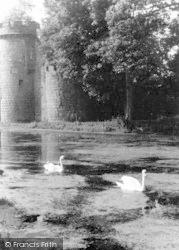 Whittington, The Castle Moat And Swans c.1950
