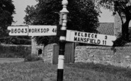 Whitwell, Worksop Road Signpost c.1965
