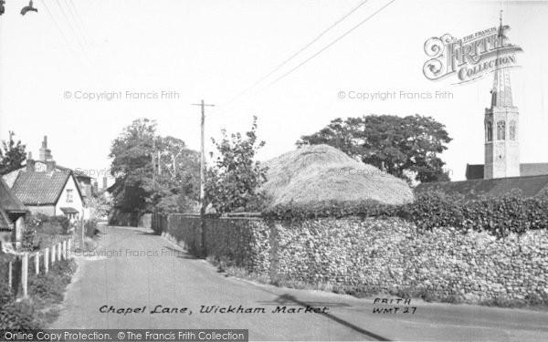 Photo of Wickham Market, Chapel Lane 1954