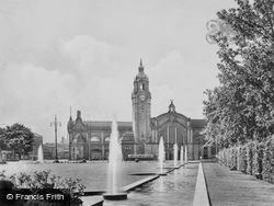 Fountains And Central Station c.1930, Wiesbaden