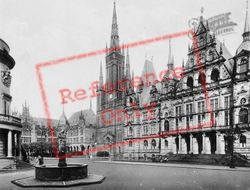 Town Hall, Castle, Evangelic Church And Lyceum c.1930, Wiesbaden