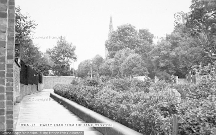 Photo of Wigston, Oadby Road From The Bank c.1955