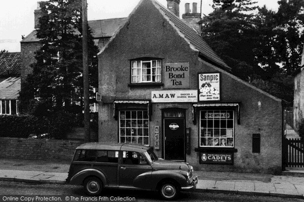 Photo of Willingham, Post Office And Morris Minor Traveller Car c.1960