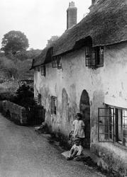 Children At Old Cottages, Bridge Street 1929, Williton