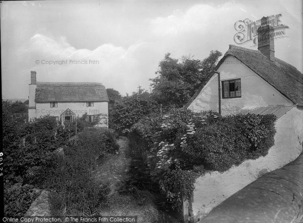 Photo of Williton, Thatched Cottages, Bridge Street 1929