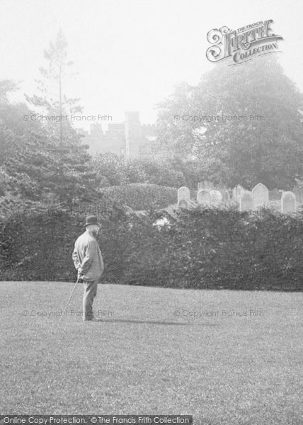 Photo of Wilton, Man By The Castle 1891