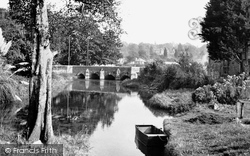 Wimborne, Walford Bridge c.1955, Wimborne Minster