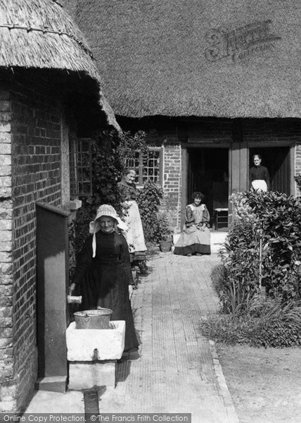 Photo of Wimborne, Women at  the Almshouses 1908, ref. 60634x