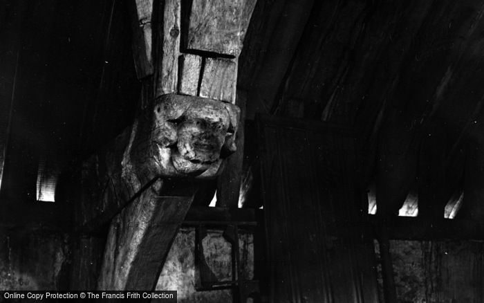 Photo of Winchester, Pilgrims' Hall, Carved Face On Beam c.1950