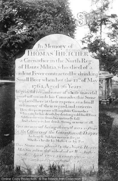 Photo of Winchester, Thomas Thetcher's Headstone 1906