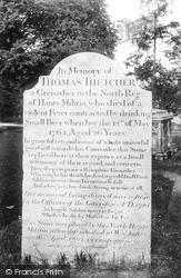 Winchester, Thomas Thetcher's Headstone 1906