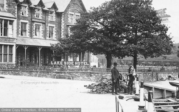 Photo of Windermere, Workmen Near The Lake Side Hotel 1887