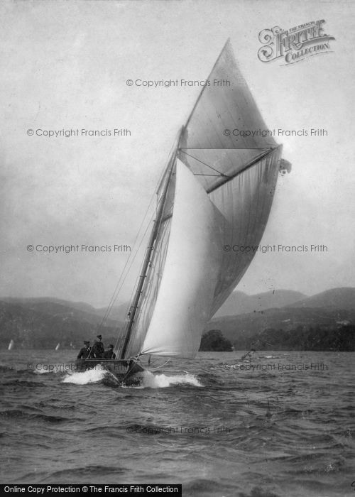 Photo of Windermere, Yachting, A Stiff Breeze c.1880